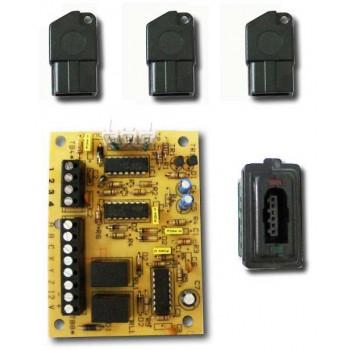 SY SE02/3 KEY 3 - Kit n.3 chiavi elettroniche a triplo controllo resistivo + 1 scheda per centrale + n.1 inseritore adatt.bticino Magic