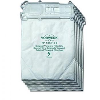 Confezione n.6 sacchetti in microfibra in busta adattabile scopa elettrica Folletto VK 135 - 136